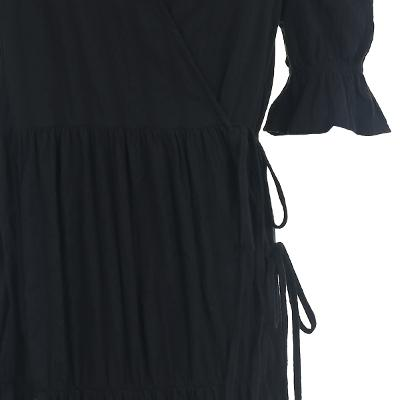 shirring detail wrap dress black